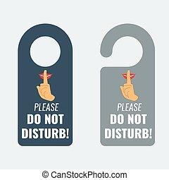Do not disturb. Door hanger. Keep quiet sign. Vector - Do...