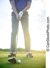 Man playing game of golf - Having a great round. Close up of...