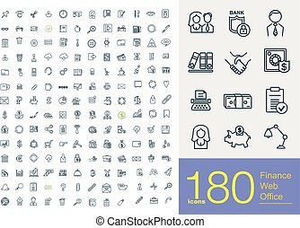 180 business line icons - 180 professional line icons about...
