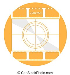 Cinema icon - Isolated yellow button with a pair of...