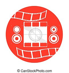 Cinema icon - Isolated red button with a pair of speakers,...