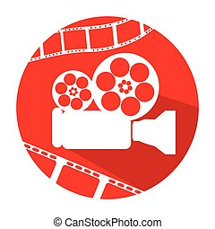 Cinema icon - Isolated red button with a pair of filmstrips...