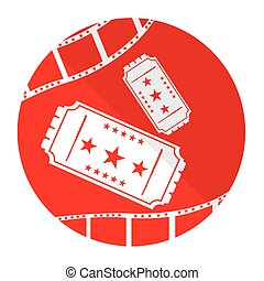 Cinema icon - Isolated red button with a pair of tickets and...