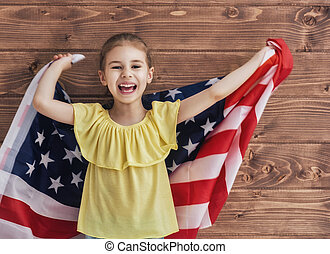 Patriotic holiday and happy kid - Patriotic holiday. Happy...