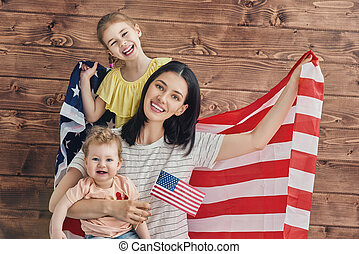 Patriotic holiday and happy family - Patriotic holiday Happy...