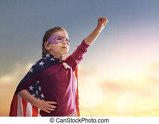 Patriotic holiday and happy kid - Patriotic holiday. Happy...