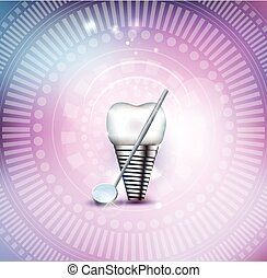 Tooth implant and mirror beautiful colorful mesh background