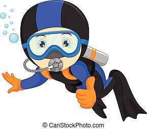 cute boy snorkeling - vector illustration of cute boy...