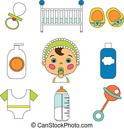 Baby Care Vector Icons Set in cartoon style