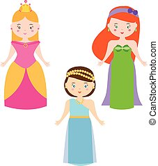 Three Vector Princesses in Cartoon Style. Queen characters vector set