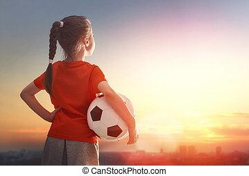 juegos, fútbol, niño
