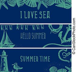 Set of hand drawn sea themed banners. Seagull,lighthouse,shell,boat. Vector illustration. Design template for greeting cards etc.