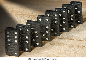 Old Wooden Pieces of the Domino Game