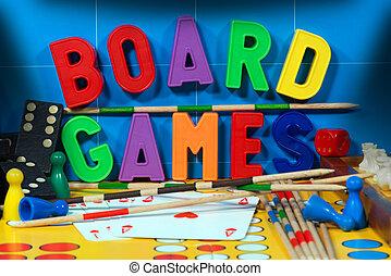 tabla, juegos, con, magnético, Cartas,