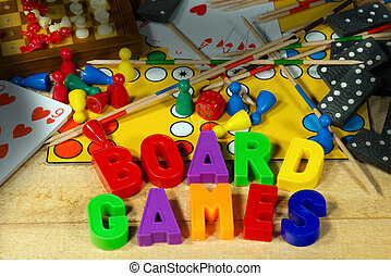 Board Games with Magnetic Letters - Dice, mikado, pawns,...