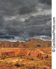 Open Pit Mine - Storm clouds Open pit mine in the desert...