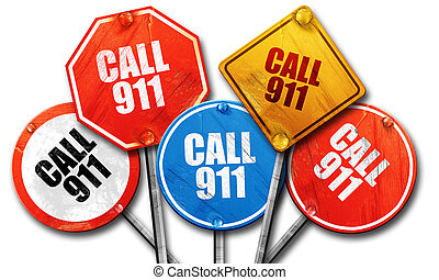 call 911, 3D rendering, rough street sign collection - , 3D...