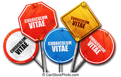 curriculum vitae, 3D rendering, rough street sign collection...