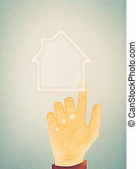 Paper texture ,Hand gesture on house