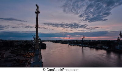 Sunrise timelapse. Panoramic view of Neva river in dawn....