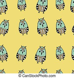 Seamless pattern with cute funny hand drawn owls. Vector illustration. Can be used for greeting cards, clothes,papers,etc.