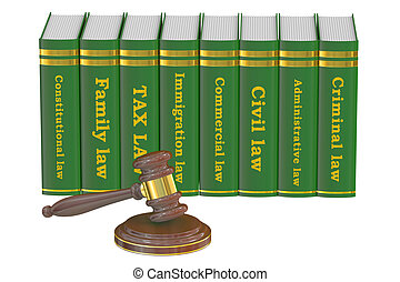 Wooden Gavel and Law Books, 3D rendering isolated on white...