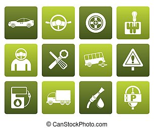 transportation icons - Flat car services and transportation...