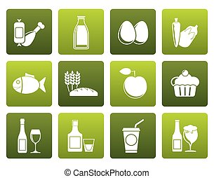 Flat Food, drink and Aliments icons - vector icon set