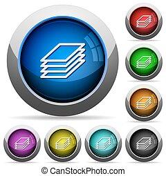 impresión, papeles, botón, Conjunto,