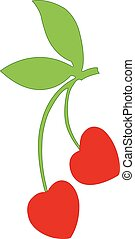 red cherry berries isolated illustration on white background