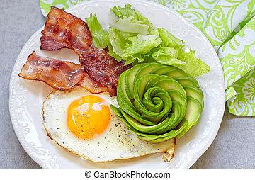 Fried Egg, Bacon and Avocado Rose for Breakfast - Fried Egg,...