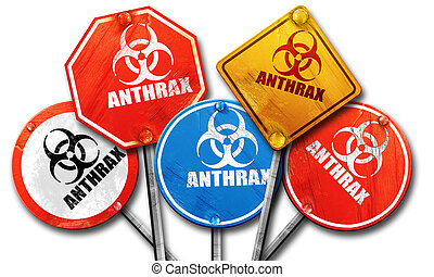 Anthrax virus concept background, 3D rendering, rough street...