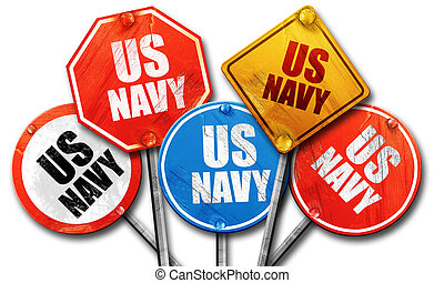 us navy, 3D rendering, rough street sign collection