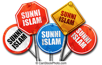 Sunni islam, 3D rendering, rough street sign collection - ,...