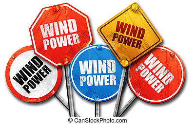 wind power, 3D rendering, rough street sign collection - ,...