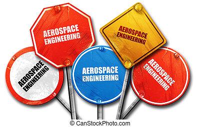 aerospace engineering, 3D rendering, rough street sign...