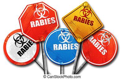 Rabies virus concept background, 3D rendering, rough street...