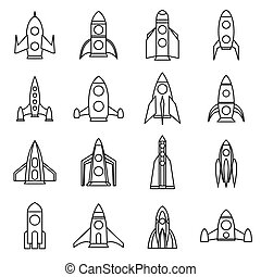 Rocket icons set, outline style