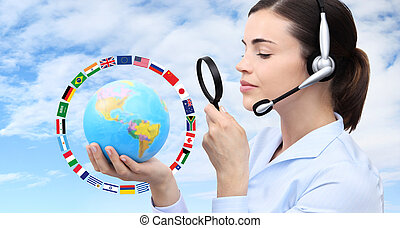 concept search, woman with headset, globe, flags and...