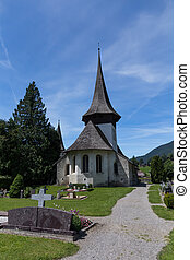 Church in Rougemont Vaud canton Switzerland - Church with...