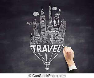 Travel concept on chalkboard - Travel concept with...