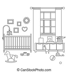 Baby room line interior. Vector outline illustration of...