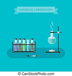 Chemical laboratory banner. - Chemical laboratory vector...