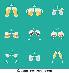 Clink glasses icons. - Clink glasses flat icons. Glasses...