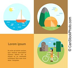Eco-tourism. Camping, cycling, sailing