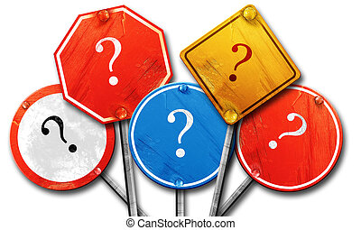 question mark, 3D rendering, rough street sign collection
