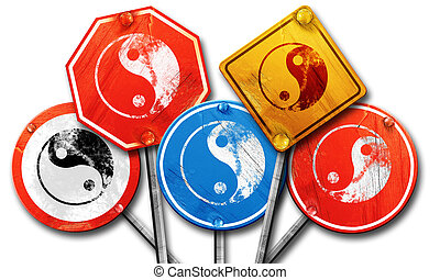 Ying yang symbol, 3D rendering, rough street sign collection