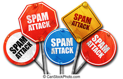 spam attack, 3D rendering, rough street sign collection