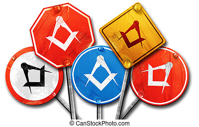 Masonic freemasonry symbol, 3D rendering, rough street sign...