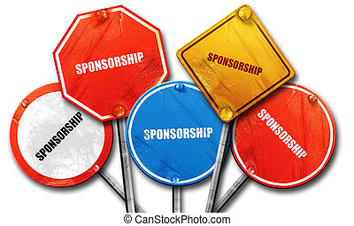 sponsorship, 3D rendering, rough street sign collection - ,...